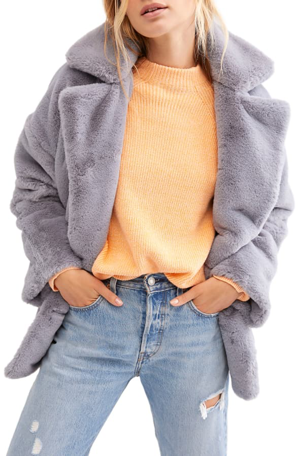 Free People Kate Faux Fur Coat In Cloudy Day