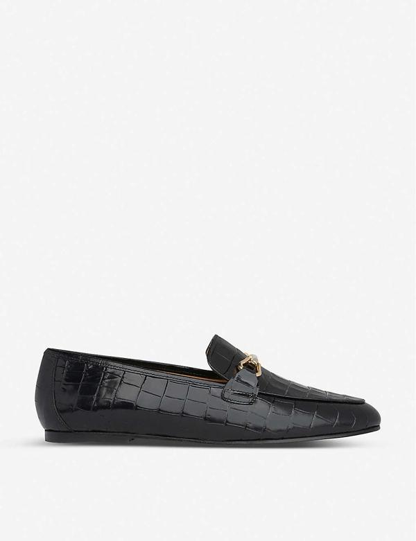 Lk Bennett Marina Croc-embossed Leather Loafers In Bla-black
