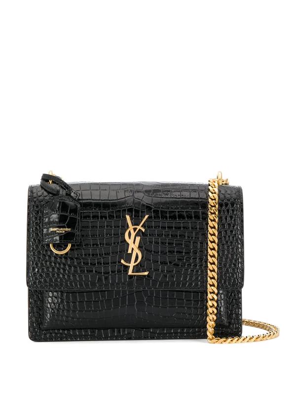 Saint Laurent Sunset Monogram Croc-embossed Medium Leather Shoulder Bag In Black