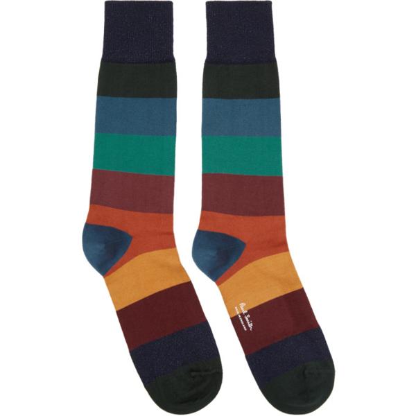 Paul Smith Men's Ian Multicolor Stripe Socks In 47 Multi