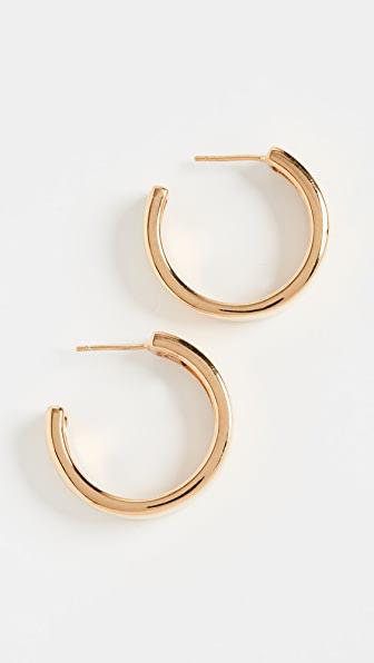Agmes Medium Modernist Hoops In Gold Vermeil