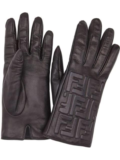Fendi Leather Ff Embossed Gloves In Black