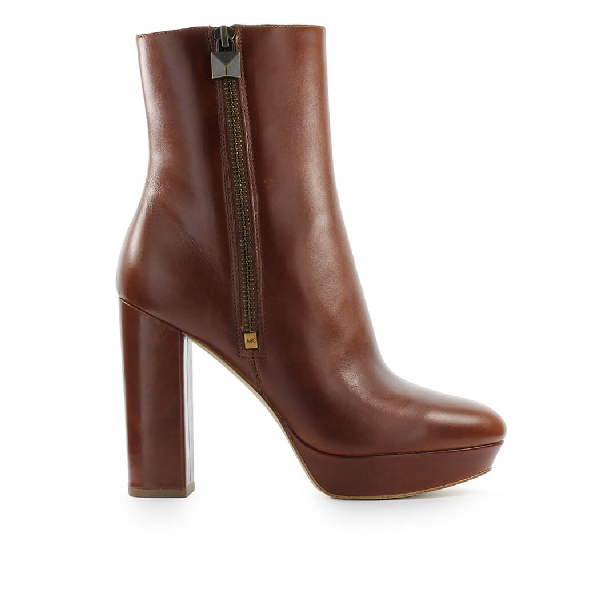 Michael Kors Women's Leather Heel Ankle Boots Booties Frenchie In Brown