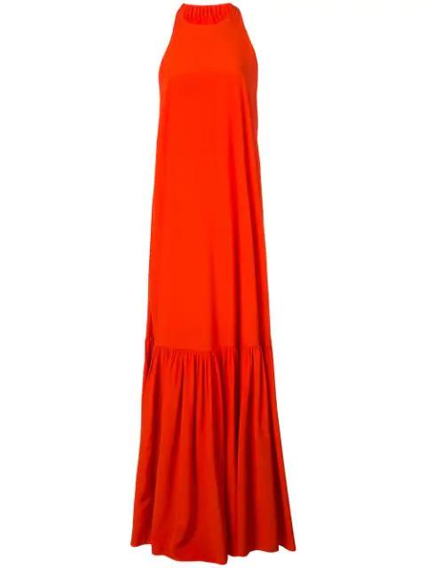 Tibi Heavy Crepe De Chine Long Halter Dress In Blood Orange