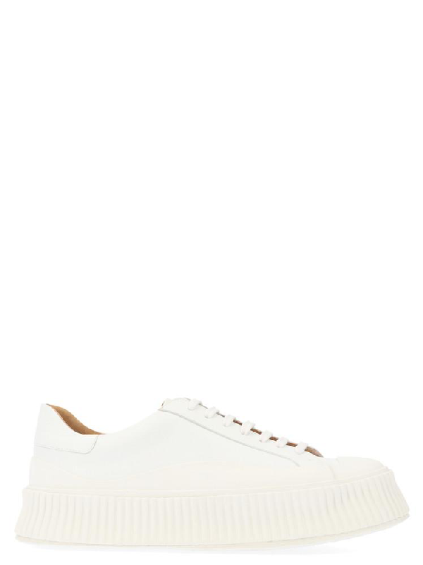 Jil Sander Platform Lace Up Sneakers In White