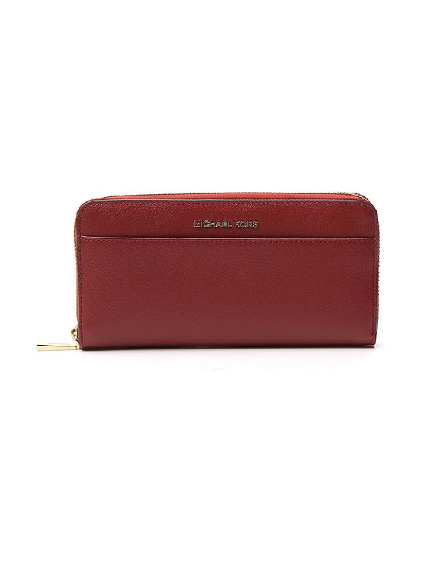 Michael Michael Kors Zipped Logo Continental Wallet In Red