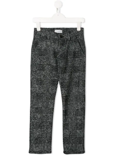 Paolo Pecora Kids' Checked Wool Blend Trousers In Black