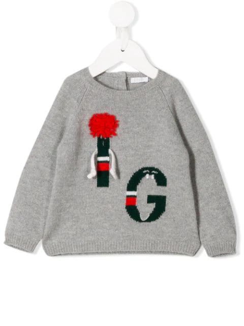 Il Gufo Babies' Stitched Letter Jumper In Grey