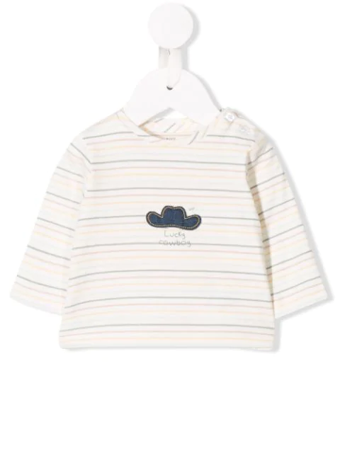Knot Babies' 'happy Cowboy' Jersey Top In White