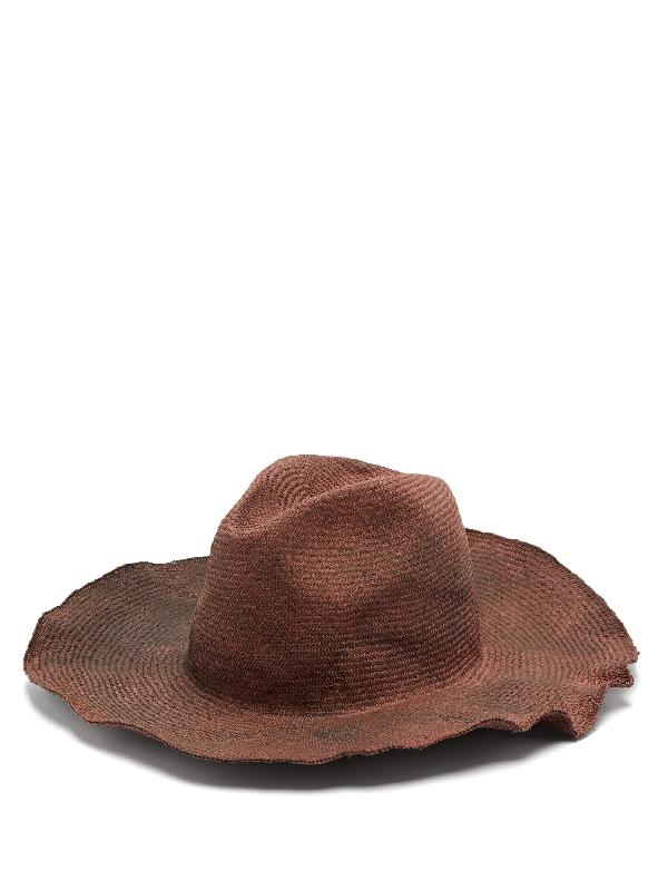 Reinhard Plank Hats Bonica Cotton-straw Hat In Burgundy Multi
