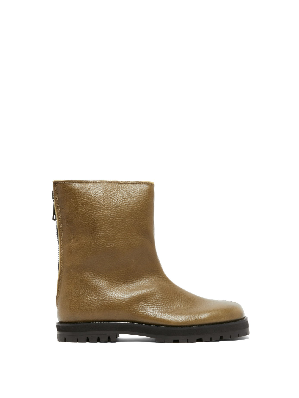 Maison Margiela Square-toe Leather And Shearling Boots In Khaki