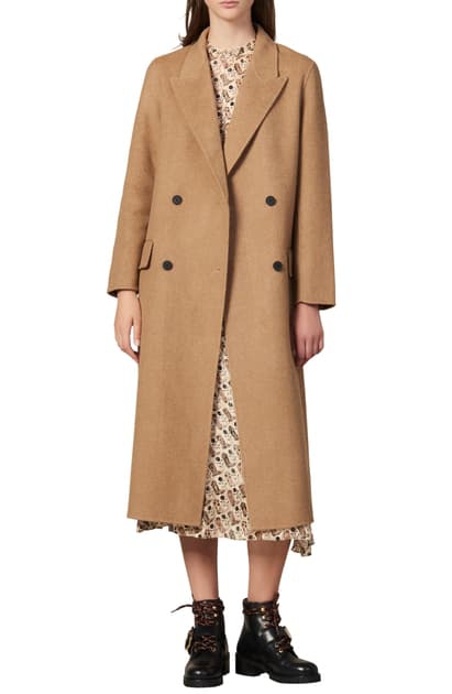 Sandro Jims Double Breasted Wool Coat In Heathered Beige