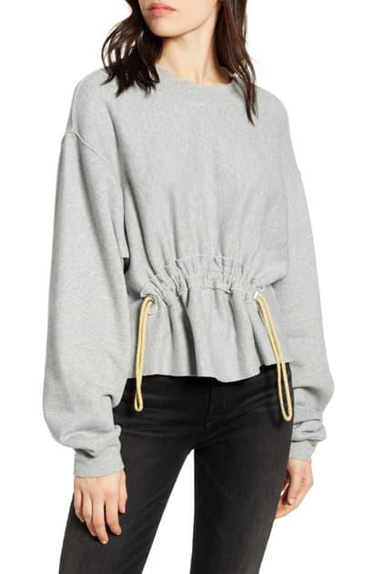 Current Elliott Current/Elliott The Bloom Drawstring Sweatshirt In Heather Grey