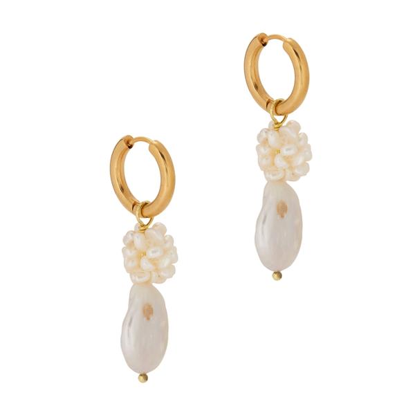 Sandralexandra Gigi Gold-plated Hoop Earrings In Pearl