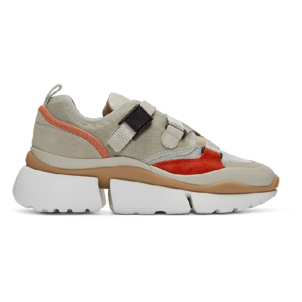 ChloÉ Chloe Beige And Orange Sonnie Sneakers In 38A Light E