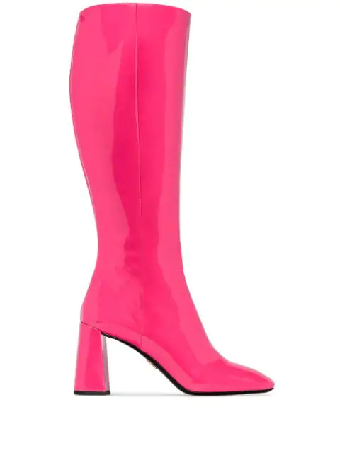 Prada Knee-High Mid-Heel Boots In F0029 Fuxia