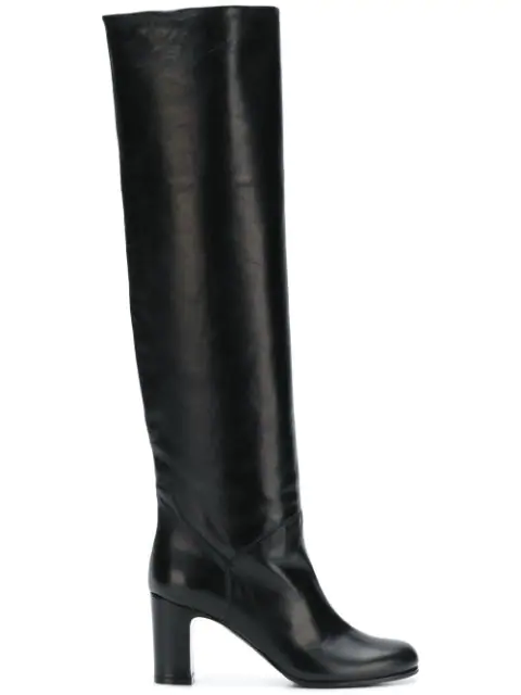 L'Autre Chose Slip-On Knee-High Boots In Nero