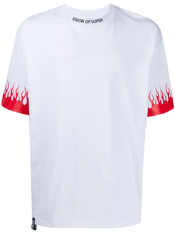 Vision Of Super Red Flames White Man T-shirt