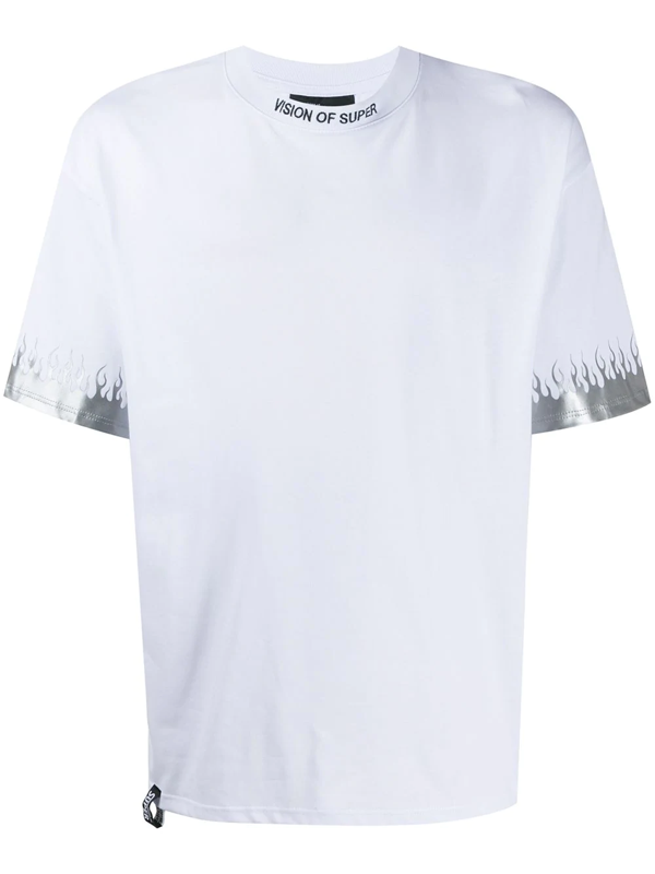 Vision Of Super White Tshirt Reflective Flames
