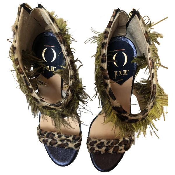 O Jour Multicolour Pony-style Calfskin Sandals