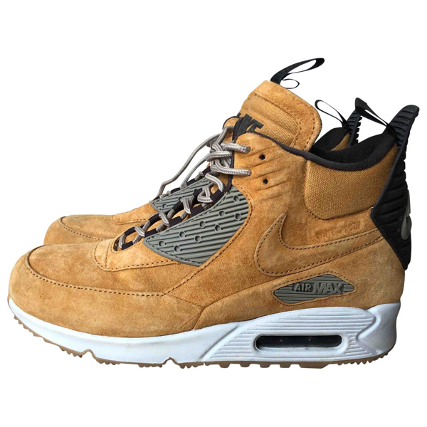 Pre-owned Nike Air Max 90 Camel Leather Trainers   ModeSens