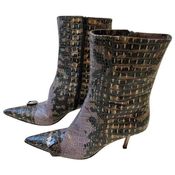 Emanuel Ungaro Purple Leather Ankle Boots