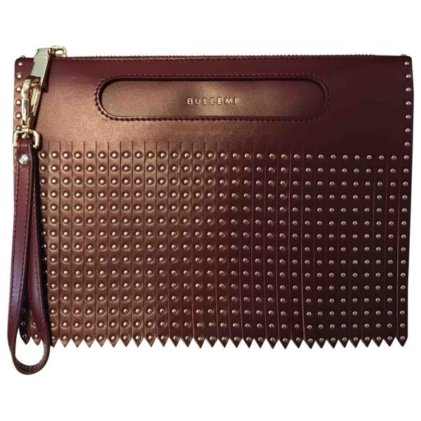 Buscemi Burgundy Leather Clutch Bag