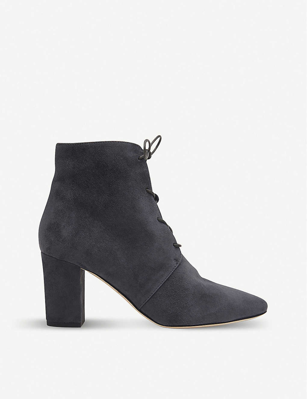Lk Bennett Lira Lace-up Suede Ankle Boots In Gry-smoke