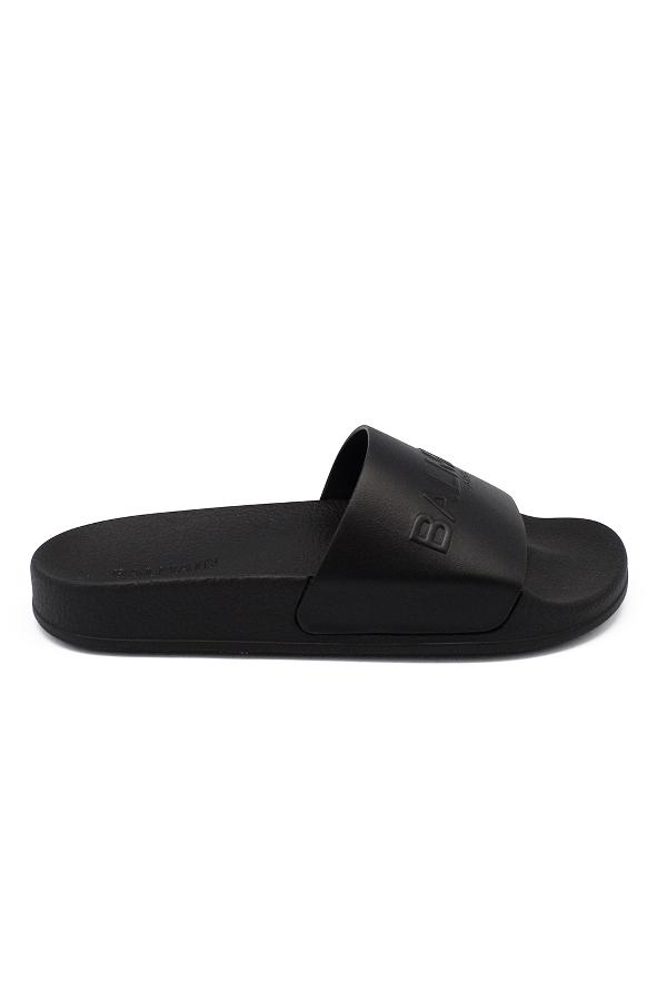 Balmain Calypso Logo-embossed Leather Slides In Black