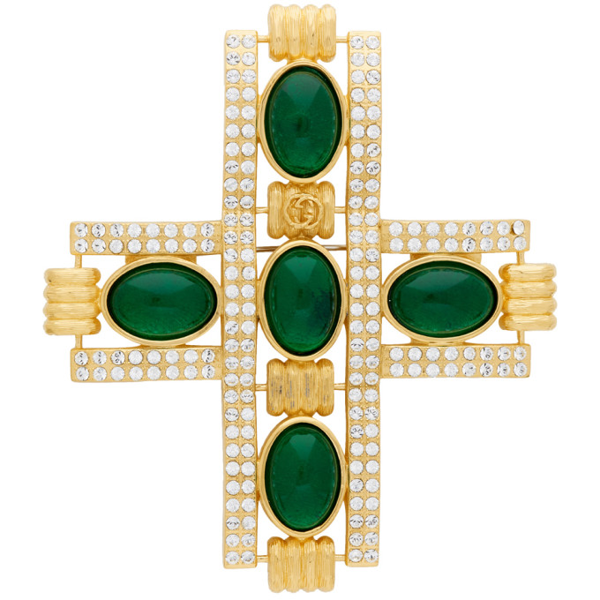 Gucci Gold And Green Cabochon Stone Cross Brooch In 8525 Gold