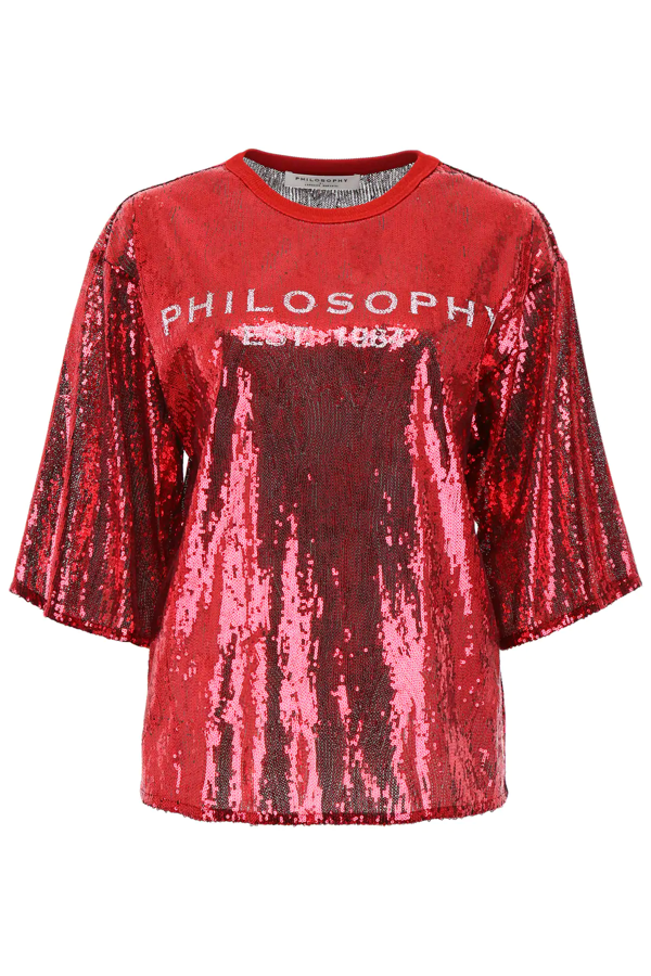 Philosophy Sequins Logo Blouse In Red