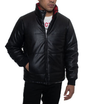 Sean John Men's Faux Leather Quilted Puffer Hipster Jacket With Buffalo Plaid Fleece Collar Trim In Black