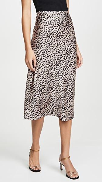 Lioness Bias Midi Skirt In Leopard