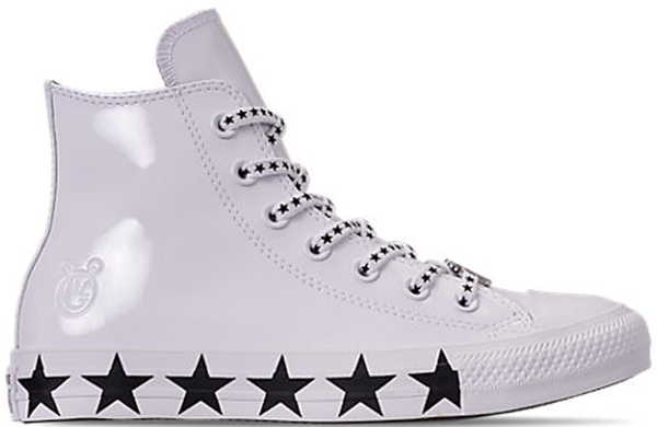 Pre-owned Converse  Chuck Taylor All-star Hi Miley Cyrus White Black Stars (w) In White/black