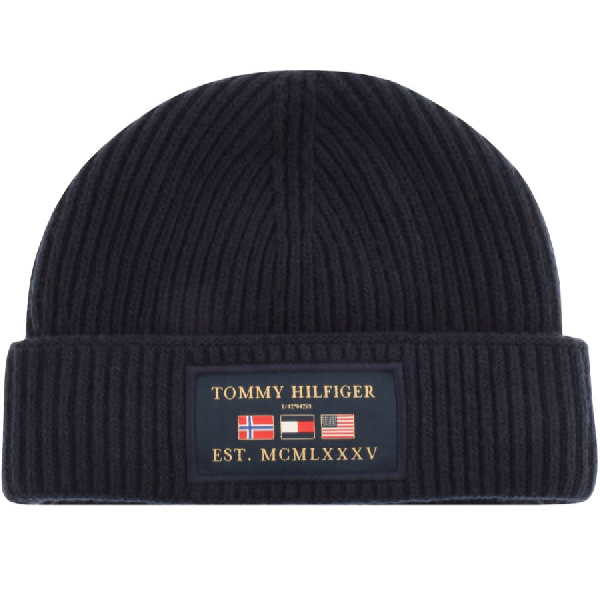 Tommy Hilfiger Outdoors Patch Beanie Hat In Navy