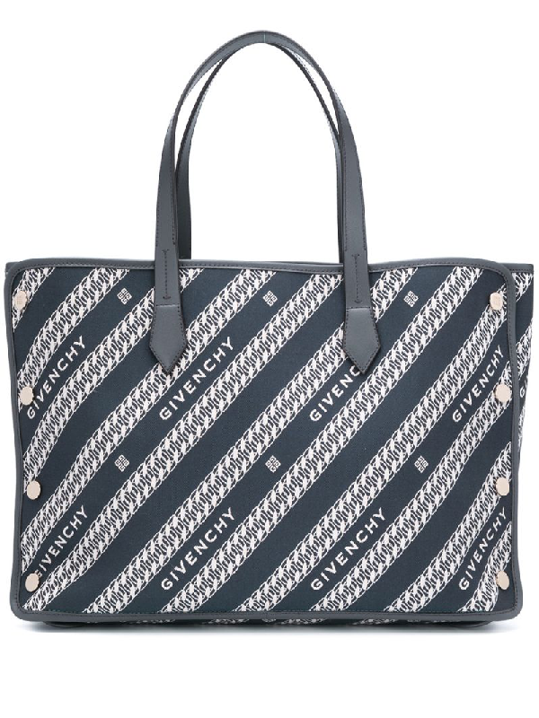 Givenchy Medium Bond Chain Jacquard Tote In Blue