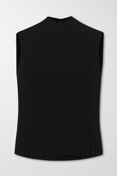 Vince Rib Front Sleeveless Turtleneck Top In Black