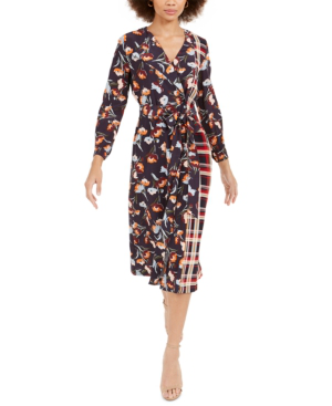 French Connection Anneli Mixed Print Long Sleeve Dress In Utility Blue Multi
