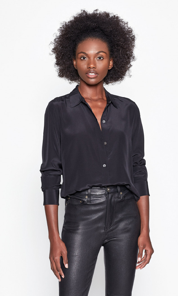 Equipment Leema Button Up Silk Shirt In True Black