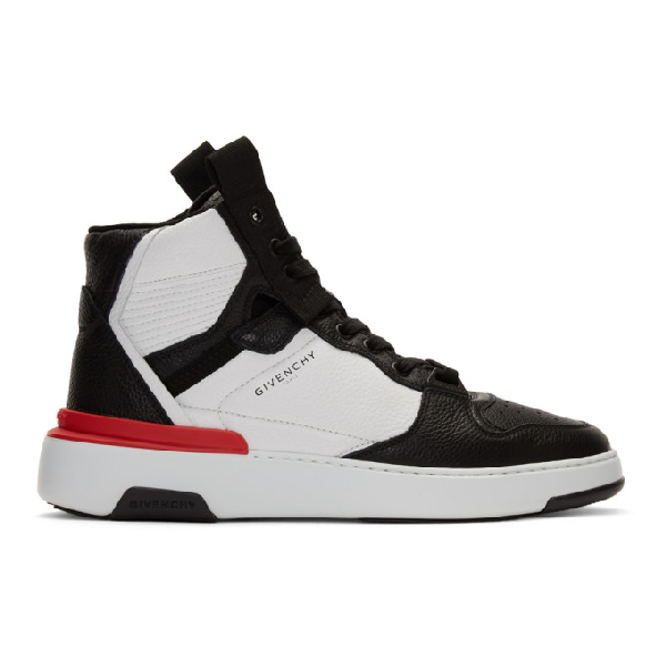 Givenchy Two-toned Wing Low Sneakers In Leather In 004 Blk/wht