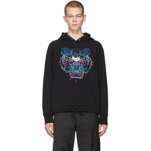 Kenzo Hooded Tiger Sweatshirt In Black/blue