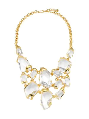 Kenneth Jay Lane Women's 22k Goldplated & Clear Crystal Drop Bib Necklace In Yellow Goldtone