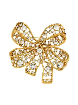 Kenneth Jay Lane Women's 22k Antique Goldplated & Crystal Bow Brooch In Silvertone