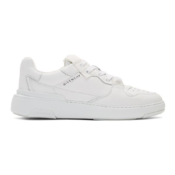 Givenchy Wing Grosgrain-trimmed Full-grain Leather Sneakers In 100 White