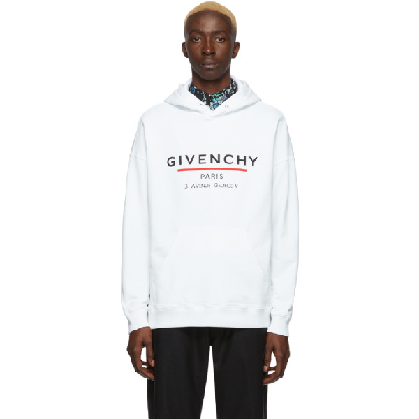 Givenchy Logo-print Loopback Cotton-jersey Hoodie In 100 White