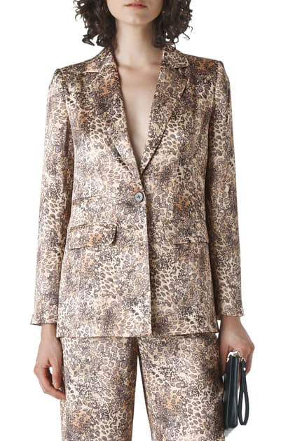 Whistles Big Cat Printed-satin Blazer In Multicolour