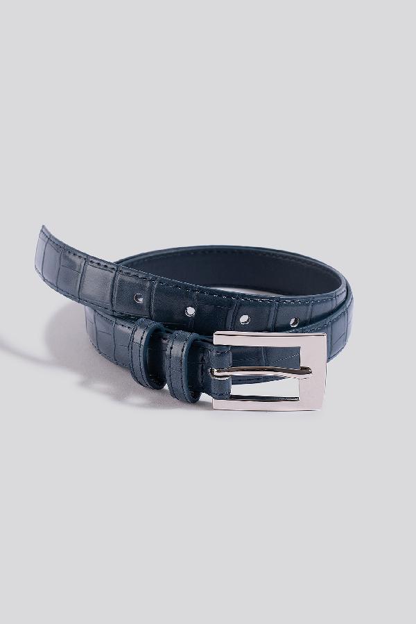 Na-kd Croc Slim Rectangular Belt - Blue In Dark Dusty Blue