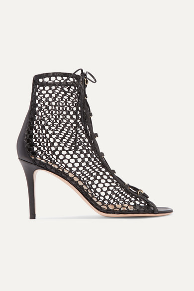 Gianvito Rossi 85 Lace-up Mesh And Leather Ankle Boots In Black