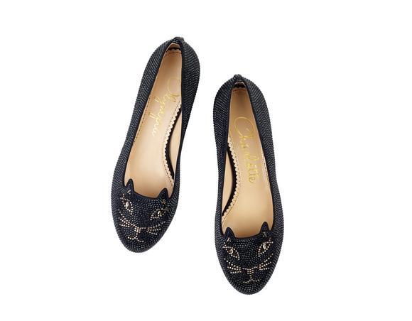Charlotte Olympia Crystal Kitty Flats In Silk%20Satin%2Fcrystals_1_Black