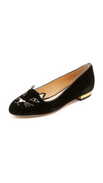 Charlotte Olympia Woman Charlotte's Web Embroidered Velvet Slippers Black In Black/Gold